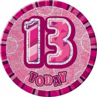 XXL Glitzer Button 13. Geburtstag Pink