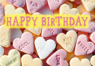 Postkarte Süßigkeiten Happy Birthday