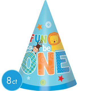 8 Hütchen Erster Geburtstag Spaß Blau