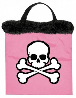 Rosa Stoff Tasche mit Totenkopf