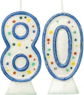 Glitzer Zahlenkerzen in Blau mit bunten Punkten 80