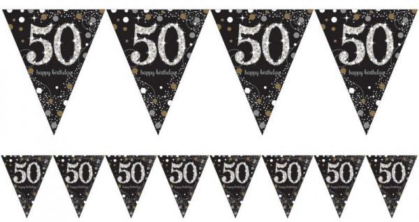 Wimpel Girlande Glitzerndes Gold und Silber 50. Geburtstag
