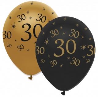30 Teile Set zum 30. Geburtstag oder Jubiläum - Party Deko in Schwarz & Gold - Vorschau 5