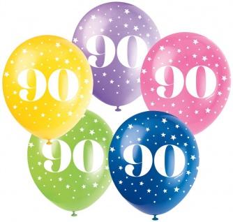 90. Geburtstag 5 bunte Luftballons