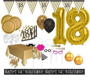 XXL Mega 106 Teile Set zum 18. Geburtstag - Party Deko in Schwarz & Gold für 32 Personen