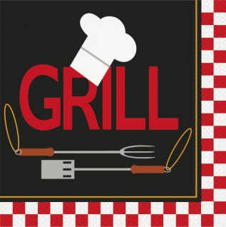 16 große Dinner Servietten Grill Party BBQ Chef
