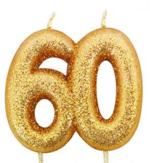 Kuchen Kerze 60. Geburtstag Gold Glitzer