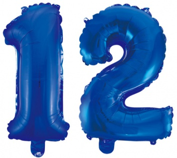 Folienballons Zahl 12 Blau Metallic 40 cm