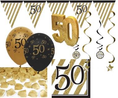 30 Teile Set zum 50. Geburtstag, Jubiläum oder Goldene Hochzeit - Party Deko in Schwarz & Gold