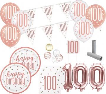 XL 37 Teile 100. Geburtstag Urban Apricot Party Deko Set 8 Personen