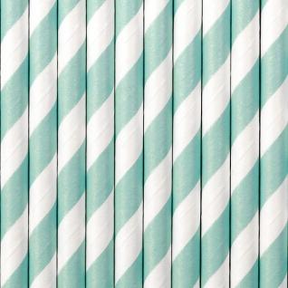10 Papier Trinkhalme hellblau weiß gestreift