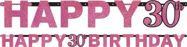 Geburtstags Girlande Glitzerndes Pink und Schwarz 30. Geburtstag