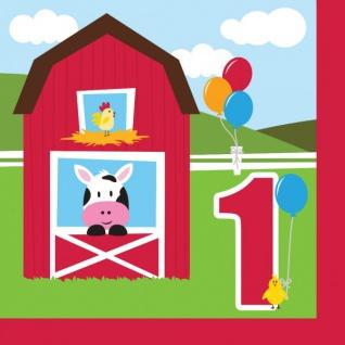 16 Servietten Erster Geburtstag Bauernhof Freunde