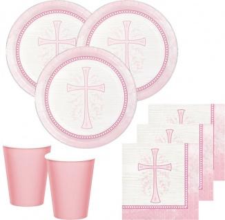 32 Teile Taufe Kommunion Rosa Party Deko Set für 8 Personen
