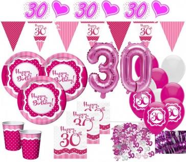 XXL 52 Teile zum 30. Geburtstag Perfectly Pink für 8 Personen