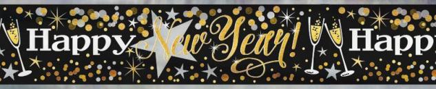Glittering Silvester Folien Banner