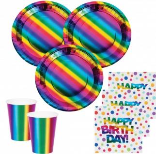 32 Teile Geburtstags Party Deko Set schimmernder Regenbogen - foliert für 8 Personen
