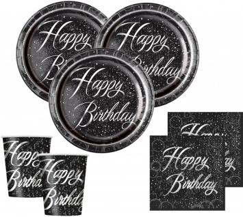 32 Teile edles Party Deko Set Happy Birthday zum Geburtstag in Schwarz Silber foliert für 8 Personen