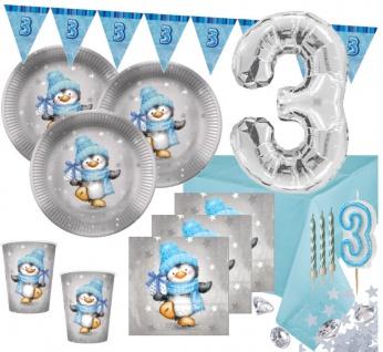 XXL 75 Teile Dritter Geburtstag Deko Set Pinguin Junge in Hellblau und Silber 16 Personen 3. Geburtstag