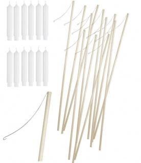 12 Holz Laternenstäbe plus 12 Laternen Kerzen