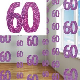 60. Geburtstag Glitzer Girlanden Pink