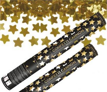 2 x Konfetti Kanone Goldene STERNE 40 cm - Konfetti Shooter Streamer - für Silvester, Hochzeit, Party, Geburtstag