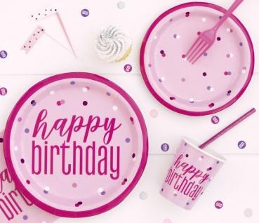 Wimpel Girlande Pink Dots Glitzer zum 40. Geburtstag - Vorschau 2
