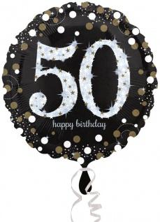 Folien Ballon Glitzerndes Gold und Silber zum 50. Geburtstag