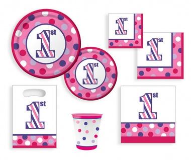16 kleine Servietten 1. Geburtstag Punkte und Streifen Pink - Vorschau 3