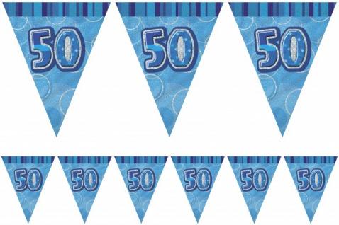 50. Geburtstag Wimpel Girlande Blau