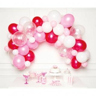 DIY Ballongirlanden Set in Rosa Pink und Weiß mit 70 Ballons