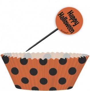 Muffin Förmchen Set Schwarz Orange Punkte