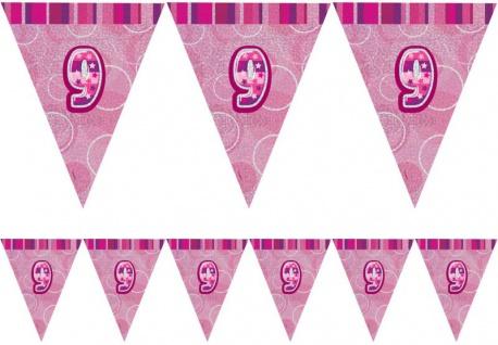 9. Geburtstag Wimpel Girlande Pink