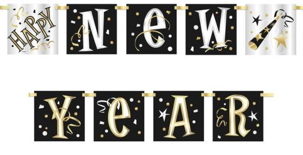 Banner Silvester Party 2019 schwarz silber und gold