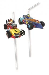6 Micky Maus Trinkhalme Roadster Racers