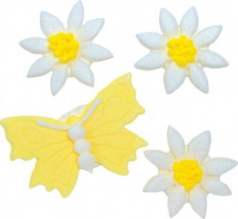 Zuckerfiguren Gelber Schmetterling & Gänseblümchen