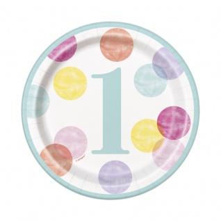 8 kleine Papp Teller 1. Geburtstag Rosa Punkte