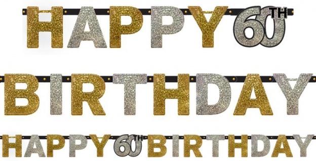Geburtstags Girlande Glitzerndes Gold und Silber 60. Geburtstag