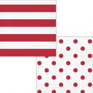16 Servietten Streifen und Punkte in Rot