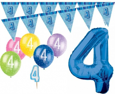 4. Geburtstag Blau XXL Folienballon + Girlande + Luftballons + Kerze Deko Set - Vier