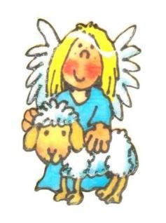 Engel mit Schaf Mini Sticker - ItSticks