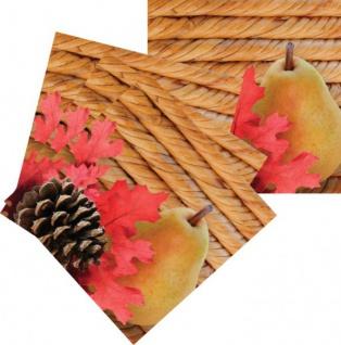 16 kleine Herbst Servietten gefüllter Weidenkorb