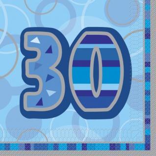 16 Servietten zum 30. Geburtstag in Blau