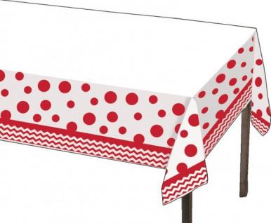 Plastik Tischdecke Zickzack + Punkte Rot