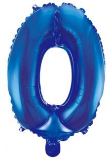 Folienballon Zahl 0 Blau Metallic 40 cm