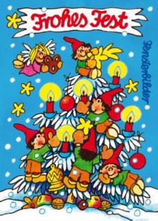Fensterbild Postkarte Weihnachts Wichtel
