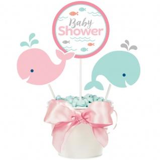 3 Kuchen oder Deko Stecker Happy Baby Wal Party Pink
