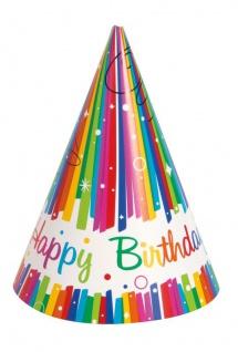 8 Party Hütchen Regenbogen Geburtstag