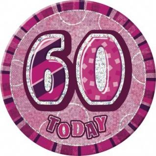 XXL Glitzer Button 60. Geburtstag Pink