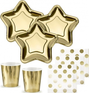 44 Teile kleines Fingerfood Party Deko Set Stern Gold Glanz für 12 Personen